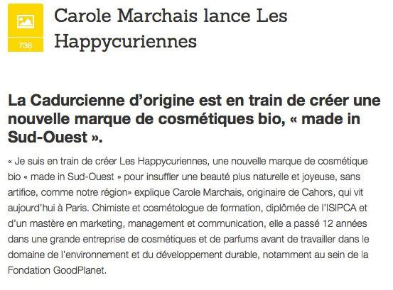 Les Happycuriennes, marque de slow cosmetique bio et vegan, sur Medialot - Cahors - Carole Marchais