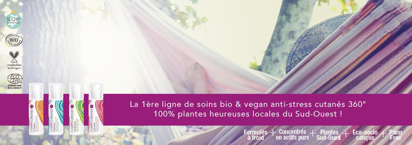 Les Happycuriennes, la 1ère ligne de soins bio & vegan anti-stress cutanés 360° 100% plantes heureuses locales du Sud-Ouest !