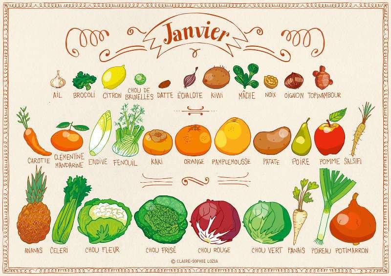 Calendrier fruits et legumes janvier - Special belle peau en hiver