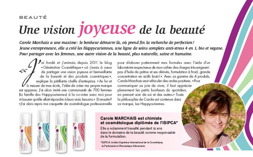 La cosmétique joyeuse de Carole Marchais avec Les Happycuriennes dans Version Fémina Meurthe-et-Moselle du 16 avril 2017