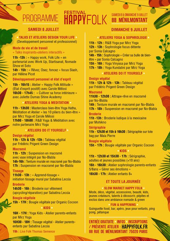 Programme du Festival Happy Folk 2017, le festival de l'art de vivre slow