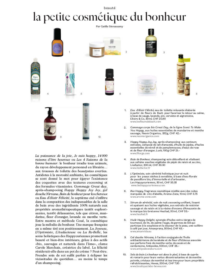 Parution sur Les Happycuriennes dans Bliss, magazine suisse lifestyle