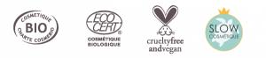 Labels de La Bienheureuse, soin corps bio et vegan des Happycuriennes
